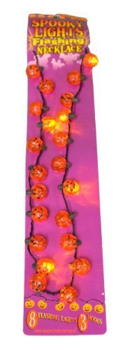 DM Merchandising Inc. Multi Function Light Up Spooky Flashing Pumpkin Necklace Halloween Party
