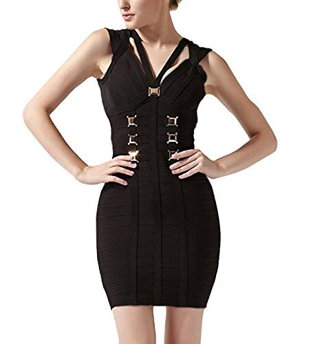 Vendaje Vestido sin Mujer Vestido FARINA® 55005negro Dress Ajustado para Bandage rayón Bodycon Vestidos Mangas Bandage HwIq6ZqOX
