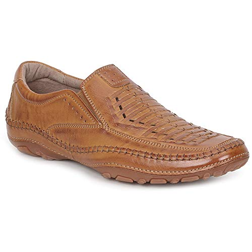 GBX Strike Mens Tan Leather Casual Dress Slip On Loafers Shoes 9