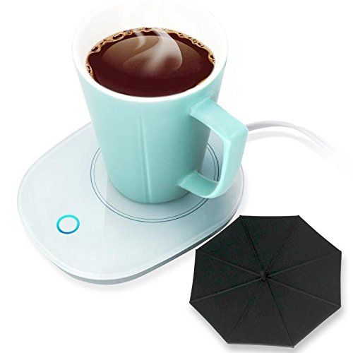 Coffee Warmer Mug (Mug Warmer Coffee Warmer with Automatic Shut Off to Keep Temperature Up to 131℉/ 55℃ with a Silicone Mug Cover Safely Use for Office/Home to Warm Coffee Tea Milk Candle Heating Wax)