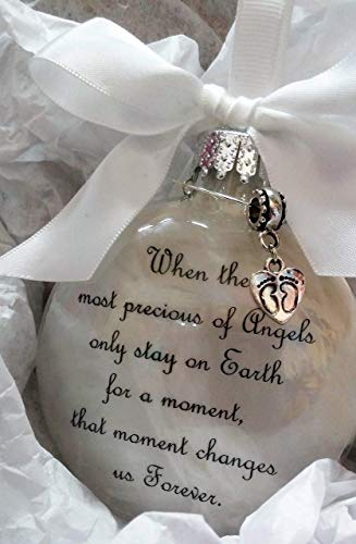 Infant Memorial Ornament - The Most Precious of Angels with Footprints Charm - In Memory of Baby Loss Sympathy Gift
