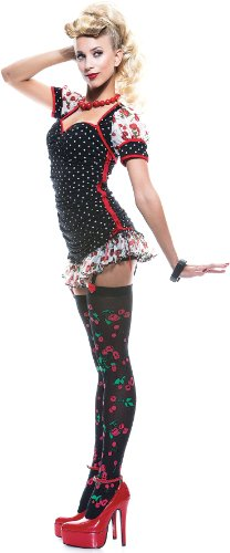 Kiss Costumes For Sale (Paper Magic Womens French Kiss Pin-up Girl Costume, Black/Red, Medium)