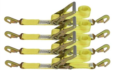 (4 Pack) 2 Auto Haulers Ratchet Strap w/ Twisted Snap Hooks - 8 Feet - Yellow