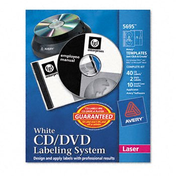 - Avery® CD/DVD Design Kits LABEL,LSR CD KIT40/10,WHT 42703 (Pack of3)