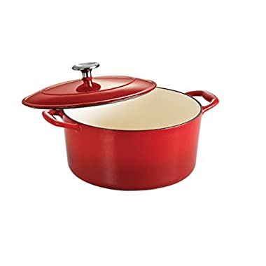 Tramontina Enameled Cast Iron Covered Round Dutch Oven, 5.5-Quart, Gradated Red