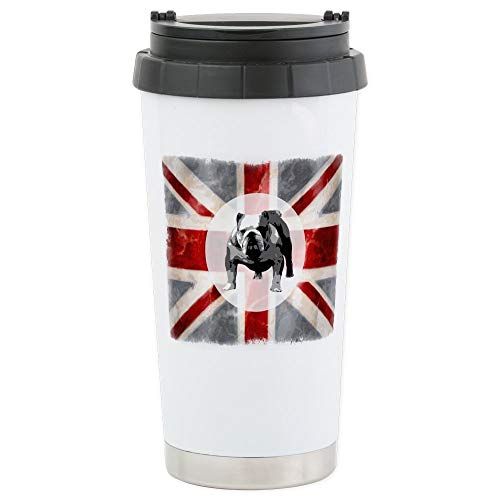 CafePress Union Jack And Bulldog Stainless Steel Travel Mug, Insulated 16 oz. Coffee Tumbler