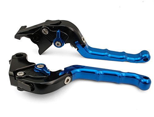 Motorcycle Racing Sport Logo CNC Folding Brake Clutch Flip-up Style Foldable Levers Blue Fit For KAWASAKI ZX10R 2004-2005 (K-828/F-14)