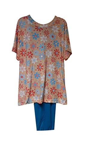Benefit Wear Adaptive Backsnap Fleece Pant Set with Side Zipper Pants (S, Peach Floral Knit)
