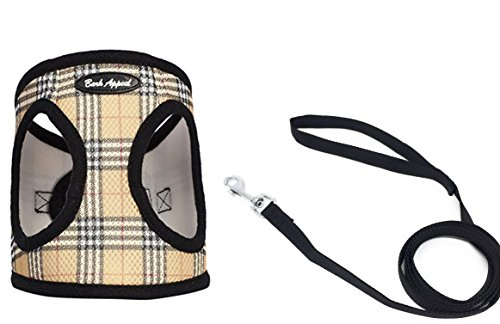 Bark Appeal Plaid Comfort Padded Pet Vest Mesh EZ Wrap Puppy Harness bundle with Leash (Small) - Vest Bark