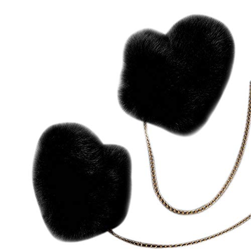Winter Fur Gloves Large Faux Fur Warm Fashion Mittens With Gold Chain (Black)