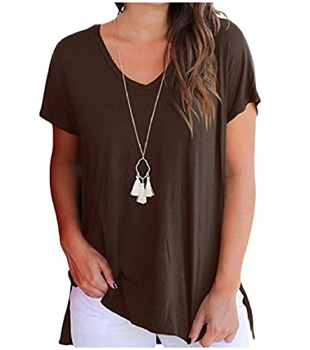 Neck Coffee Match Sleeve Tops All Women Blouses Color Short Solid O Howme OxPFgwIqw