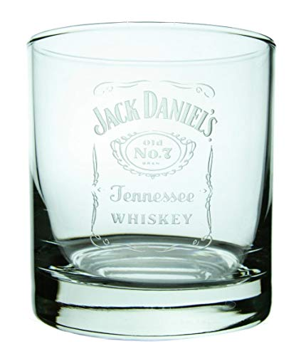 Jack Daniel's Label Old Fashioned Glass - Glass with Logo Deep Etched on One Side (11 - Vb Glass Traditional