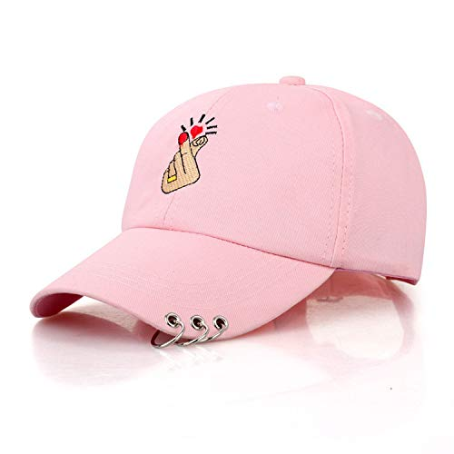 Baseball Cap Embroidery Rings Love Gestures Finger Snapback Hats,Pink Colour,Adjustable -