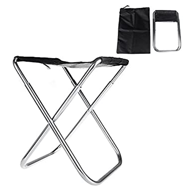 New Portable Folding Fold Aluminum Oxford Cloth Fishing Chair Outdoor Camping With Carry Bag (Black)