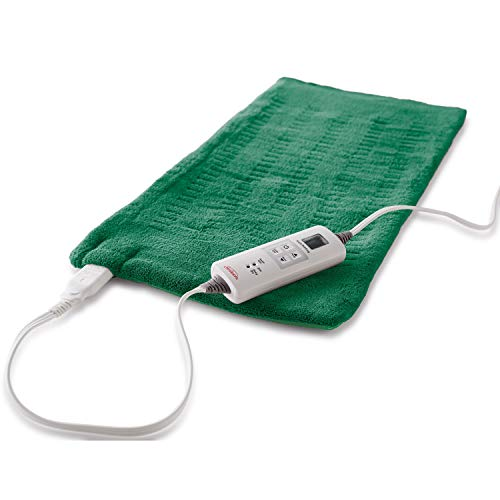 Sunbeam Heating Pad for Fast Pain Relief | X-Large, King XpressHeat, 6 Heat Settings with Auto-Shutoff | Green, 12-Inch x 24-Inch