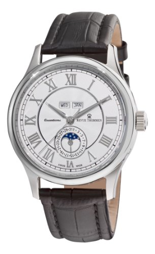 Revue Thommen Men's 16066-2532 Moonphase Analog Display Swiss Automatic Black Watch