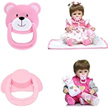 Dirance Reborn Doll Accesories Magnetic Pacifier Nipple Kids Toy (Pink-2 PCs)