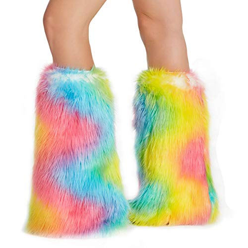 Furry Leg Warmer Fluffies Spandex Elastic Cuff Faux Fur Tie Dye Rainbow Color