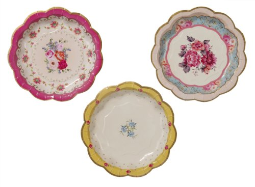 Vintage Party Supplies (Talking Tables Truly Scrumptious Paper Plates, 12 count, 6.5 inches for Tea Party or Birthday)