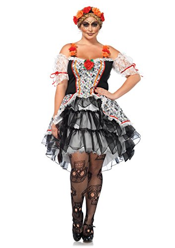 Day Of The Dead Costumes 2016 (Leg Avenue Women's Plus Size Lovely Calavera Costume, Multi, 1X-2X)