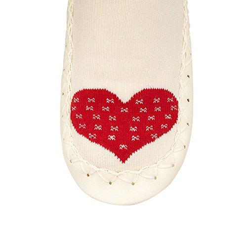 moccis Cœur chaud–Femme–Mocassins en cuir pantoufles Chaussettes pour Homme