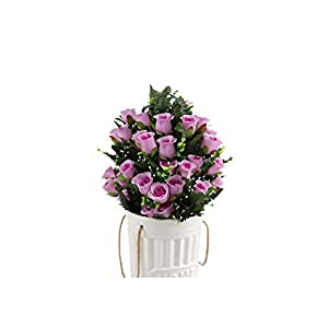 Artificial Flowers Artificial Silk Rose and Blossom Fillers Mixed Bush for Home Wedding Restaurant Office Cemetery Grave Decoration 9