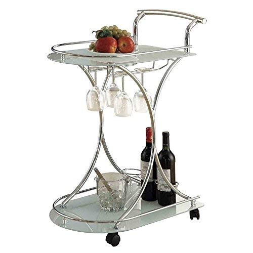 (Serving Cart with 2 Frosted Glass Shelves Chrome and White)