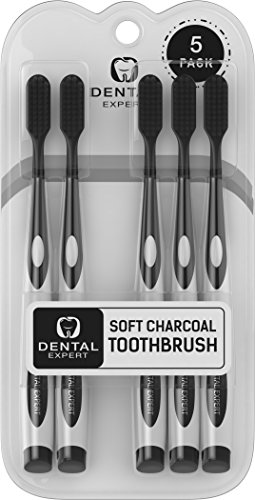 - 5 Pack Charcoal Toothbrush [GENTLE SOFT] Slim Teeth Head Whitening Brush for Adults & Children - Ultra Soft Medium Tip Bristles (Black)