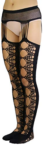 ToBeInStyle Women's Geometric Hex Lace Suspender Pantyhose - Black - OS