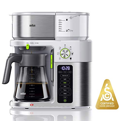 Braun MultiServe Coffee Machine 7 Programmable Brew Sizes / 3 Strengths + Iced Coffee & Hot Water for Tea, Glass Carafe (10-Cup), White, KF9150WH (Renewed)