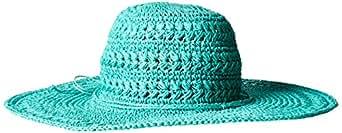 Scala Women's Big Brim Crocheted Toyo Hat, Aqua, One Size