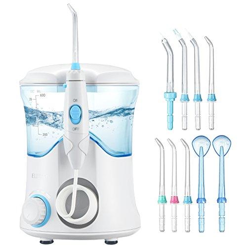 Price comparison product image ElleSye Water Flosser, FDA Approved Dental Care Oral Irrigator, 9 Multifunctional Tips for Family Use, 600ml Reservoir Leak-Proof Dental Flosser, 10 Stepless Water Pressure Settings, 25-120psi