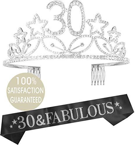 30th Birthday Tiara and Sash| Happy 30th Birthday Party Supplies| 30 & Fabulous Black Glitter Satin Sash and Crystal Tiara Birthday Crown for 30th Birthday Party (Silver) (Crown 30 Bday)
