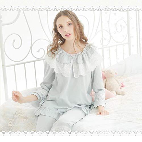 Blau Pijama Manga Hogar Splice Cuello Volantes Elegante Pijamas Primavera De Princess El Ropa Pantalones Cute Para Redondo Encaje Otoño Conjunto Estilo Largo Mujer Fashion 8qgUwxE