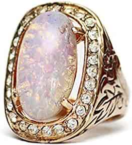 0765e0ec0 Providence Vintage Jewelry Large Opal and Clear Swarovski Crystals 18kt  Yellow Gold Electroplated