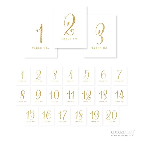 Andaz Press Table Numbers 1 - 20 on Perforated Paper, Gold G