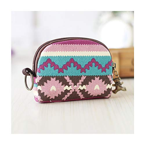 Cute Youth Korean Japanese Style Canvas Novelty Wallet Coin Purse Credit Card Photo Bill Key Holder (Mixed-Color Weaven)