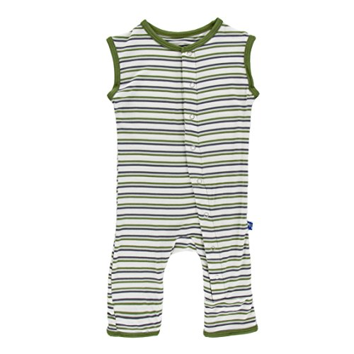 KicKee Pants Little Boys Print Tank Coverall Tank Coverall - Boy Fresh Water Stripe, 0 - 3 Months
