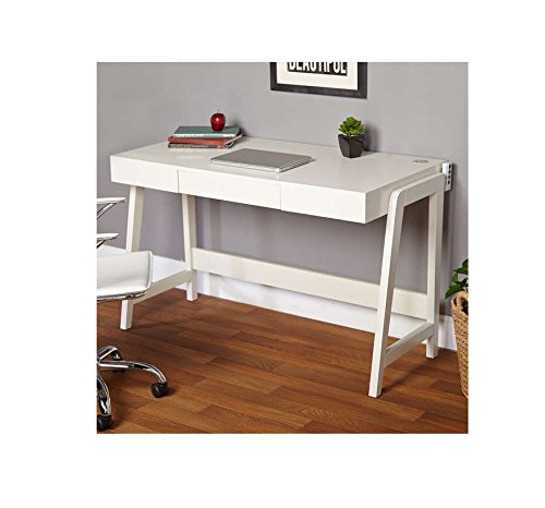 Simple Living Modernist Rectangular Desk with Tech Integrated USB Port and Grommet, 30-Inches by 49-Inches, White (1948267) Simple Living