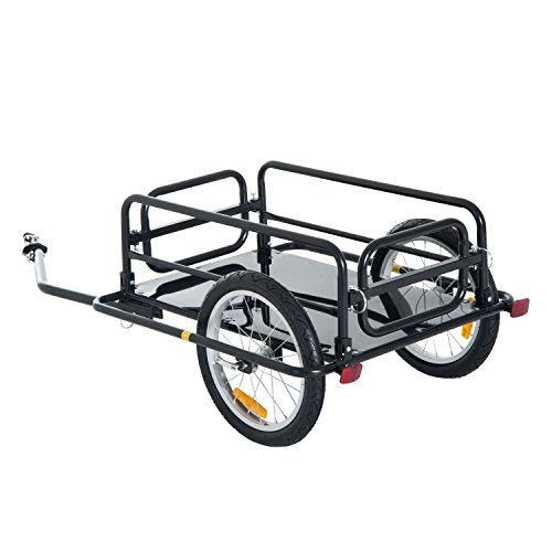 Aosom Wanderer Folding Bicycle Bike Cargo Storage Cart and Luggage Trailer with Hitch - Black ()