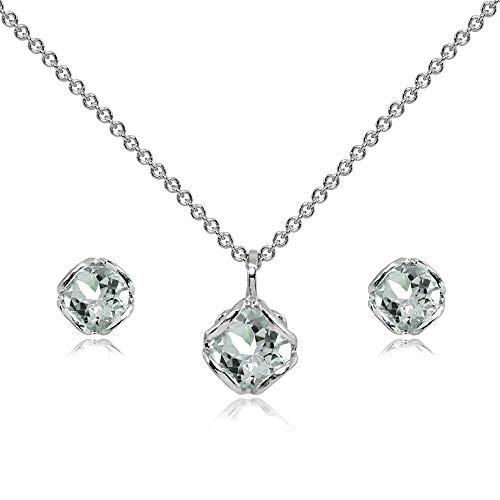 (Sterling Silver Light Aquamarine 6mm Round Solitaire Stud Earrings & Pendant Necklace Set )