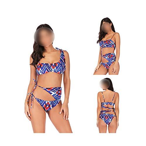 2019 Women Sexy Bikini Set Push Up Bandage Tankini Plus Size Swimwear Stripe Print Off Shoulder Swimsuit Suits,Floral,L