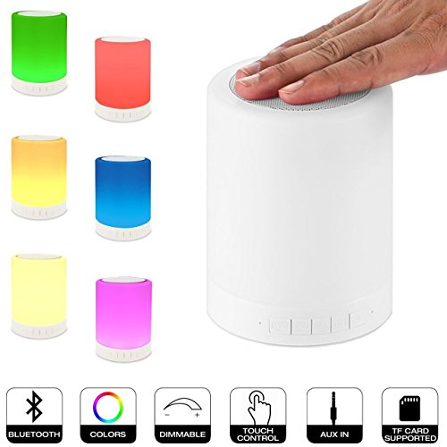 LightingU Table Lamp with Bluetooth Speaker, Night Light with Alarm Clock , Touch Control Color Portable Wireless Music Player Beside Lighting for Kids Men Women Outdoor Indoor Gifts (Basic)