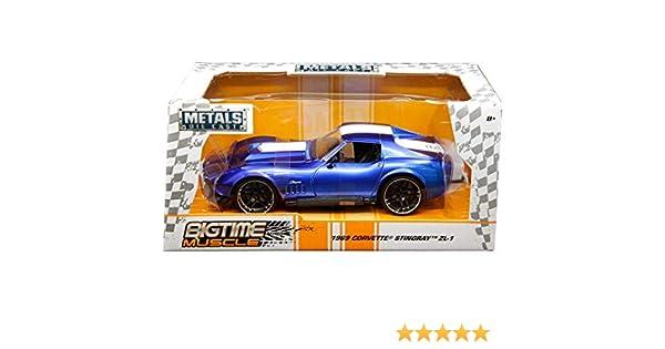 Amazon.com: Jada 1969 Chevrolet Corvette Stingray Zl-21 Blue with White Stripe Bigtime Muscle 1/24 Die-cast Model Car 30532: Toys & Games