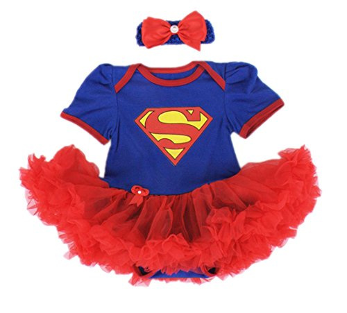 Baby's All in 1 Fancy Dress Halloween Christmas Princess Party Romper Suits (S (0-3 Months), (Supergirl Halloween)
