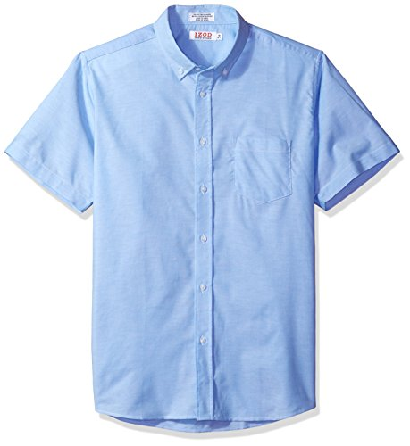 (IZOD Uniform Men's Short Sleeve Button-down Oxford Shirt, Ox Blue, Large)