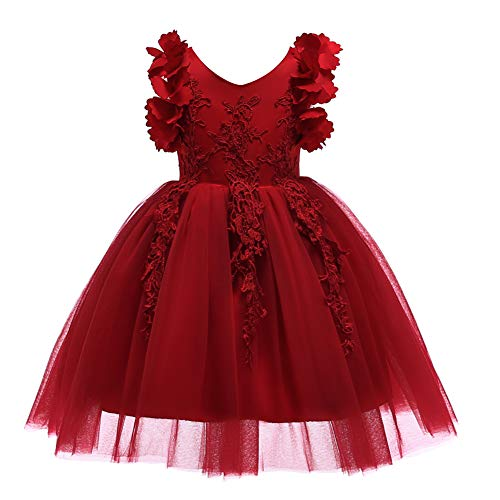 Weileenice 1-12T Big/Little Girl Flower Lace Dresses Bowknot Birthday Tulle Dress for Communion Party Wedding (3-4Years, Burgundy) -