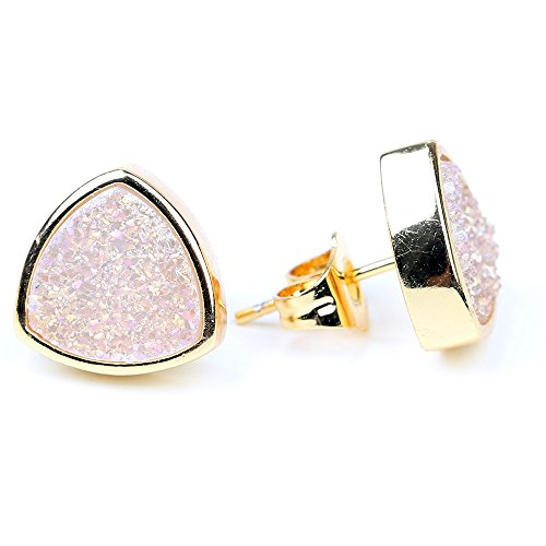 10mm 24k Gold Plated Triangle Shape Natural Quartz Druzy Stud Earrings Piercing Earrings