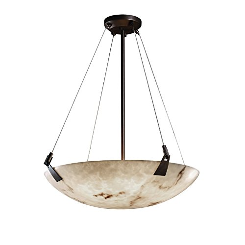 Justice Design Group LumenAria 6-Light Pendant - Brushed Nickel Finish with Faux Alabaster Resin (Justice Design Nickel Pendant)