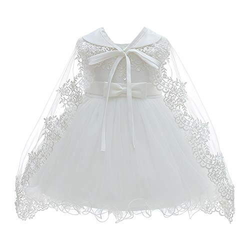 Tulle Satin Dress Christening (Silver Mermaid Baby Girls Christening Baptism Dress Satin and Tulle Baby Girl Dress for Flower Girl & Birthday(3M,White))